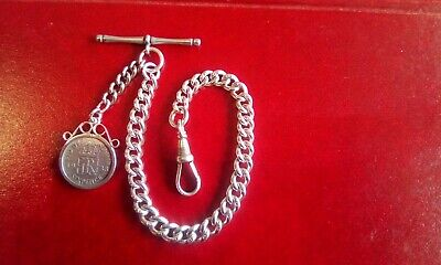 Antique / Silver Graduated Albert Pocket Watch Chain And Fob.