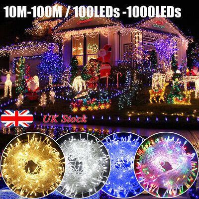 UK 10-100M LED Waterproof Mains Fairy String Lights Outdoor Party Wedding Deaor