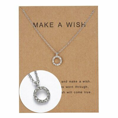 Women Fashion 925 Silver Crystal Round Necklace Pendant Costume Charm Jewelry