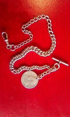 Antique Vintage Silver Graduated Albert Pocket Watch Chain And Fob.
