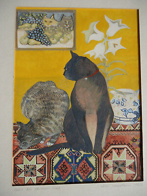 Listed Artist Ella Neustein Watercolor/Gouache Painting | Cats on Persian Rug