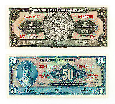 2 different Mexico 50 Pesos 1972 xf and 1 Peso 1967 Au