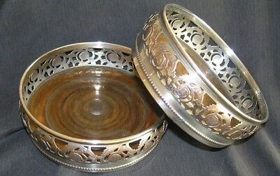 Pair Antique Silver On Copper Pierced Wine Bottle Coasters With Wooden Bases
