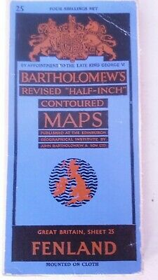 Bartholomew's Revised Half –Inch Contoured Map Sheet 25 Fenland Mounted On Cloth