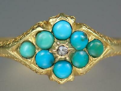Fabulous Antique Victorian 18K Gold Turquoise Diamond Engraved Ring Size 6