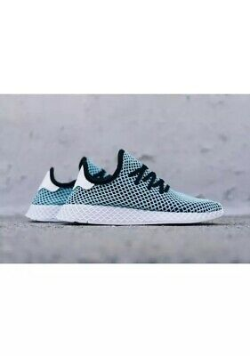3e420bca9 Nib Adidas Men s Deerupt Runner Parley Shoes In Black   Blue Spirit Size 7.5