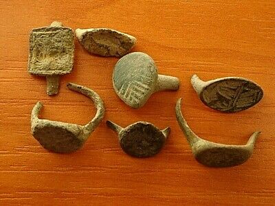 Lot of 7 Ancient Roman Bronze Rings Fragments Very Rare