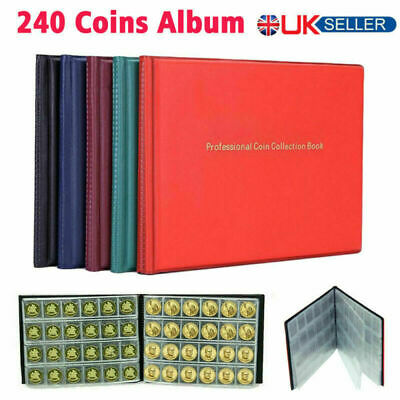 240 Album Coins Penny Storage Album Collection Book Money Folder Holder Case UK