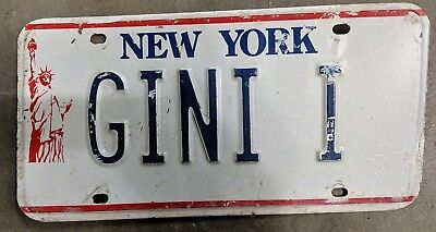 New York GINI I Vanity License Plate, Statue of Liberty Graphic 1986 -1997