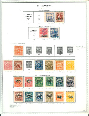 El Salvador & Honduras 34 All Different Mint & Used on Album Pages 1897-1931