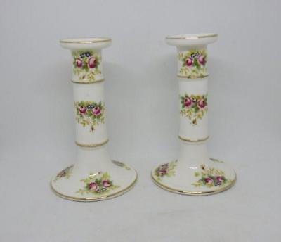 Antique 19th Century Hand Painted Roses Candlesticks Candle Holders Coalport?