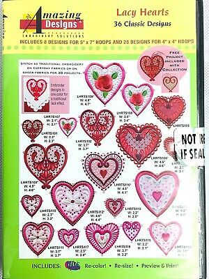 Amazing Designs Embroidery Software Lacy Hearts 36 Classic Designs