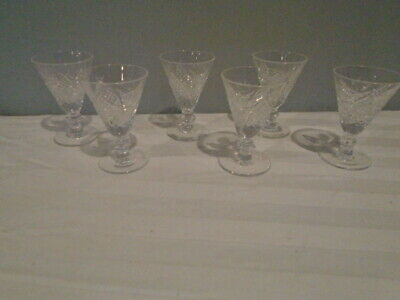 Beautiful Waterford Lismore Etched Foot 6 Crystal Sherry Glasses 3 Inch Signed