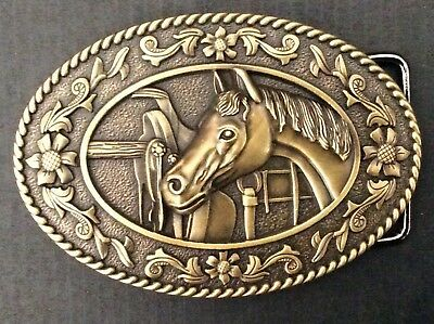 New Western Bronze Horse Belt Buckle