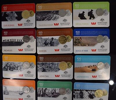 2016 ANZACS To Afghanistan Official Coin Collection. 14 x coins & Medallions