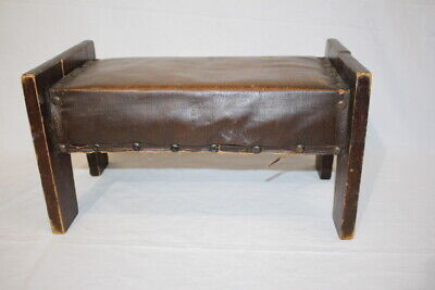 Early Antique Arts and Crafts Pine Footstool/Otoman with Leather Top and Rivets