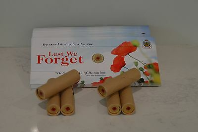 2012 $2 Red Poppy Remembrance day coin Chubb Roll of 25 coins