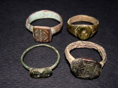 LOT of 4 pcs. ANCIENT ROMAN , BYZANTINE AND MEDIEVAL FINGER RINGS!!!