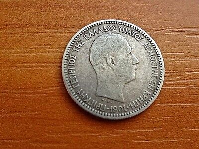 """RARE"" Greece Silver 50 Lepta 1901 King George I 1845-1913 AD High grade."