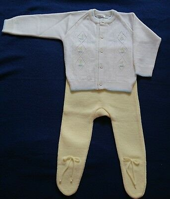 Vintage Baby Size 1, Two Piece Outfit Knitted Cardigan & Pants NEW