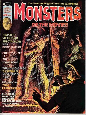 Monsters Of The Movies Magazine #6 (1975) Marvel Fine (6.0) Mummy Cover