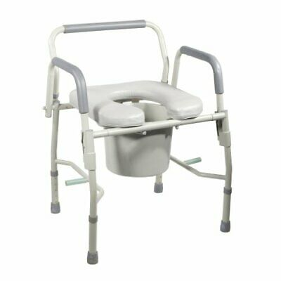 "Portable Steel Drop Arm Bedside Commode w/ Padded Toilet Seat and Arms - 35""x20"""