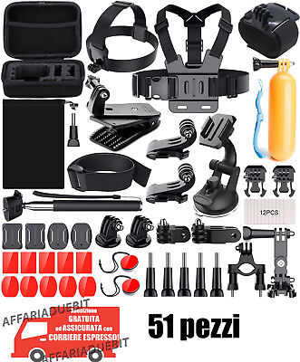 Kit accessori GoPro completo action cam hero 1 2 3 4 6 7 5 Black go pro 51 pezzi