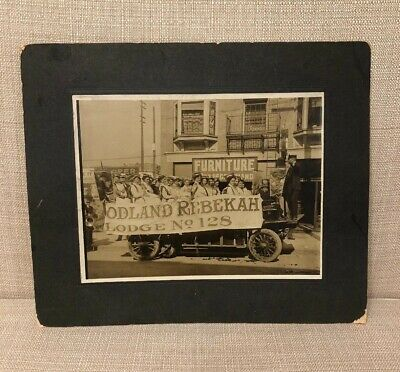 The Rebekah Lodge Odd Fellows Sepia Antique Parade Photograph Women