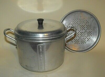 Vintage CHIEF Aluminium Dripping Pot with Strainer - Very Cool Original Label