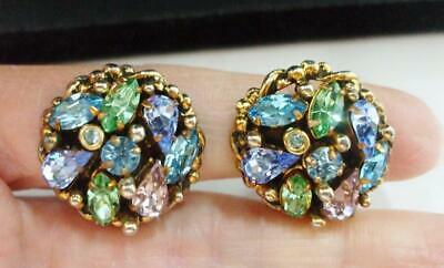 Beautiful Vintage Barclay Colorful Rhinestone Earrings Marquis Teardrop + Clips
