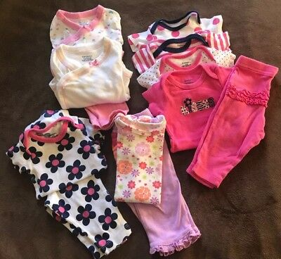 Infant Baby Girls Lot 0-3 Months Gerber Clothes 12 Pieces