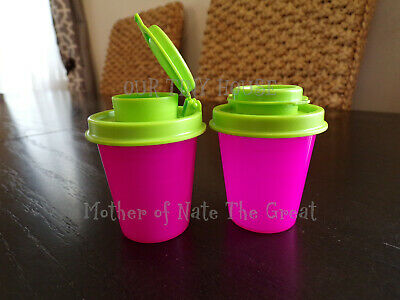 TUPPERWARE SALT AND PEPPER SHAKER SET Spice Small Midget Mini Travel Pink Green