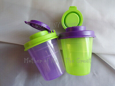 TUPPERWARE SALT AND PEPPER SHAKER SET Spice Small Midget Mini Travel Purple