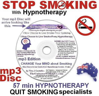 QUIT STOP SMOKING HYPNOTHERAPY mp3 Disc Hypnosis NLP Smoke AID SAFE  Fast Easy