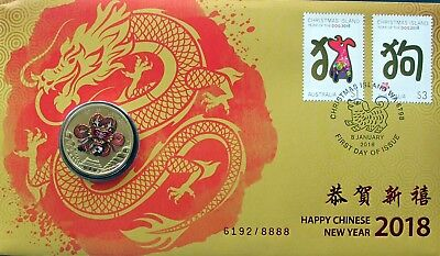 Christmas Island 2018 Year Of Dog Fdc/pnc With Coin Limited Edition 6192/8888