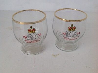 Two Queen Elizabeth 1954  Royal Visit To Australia Souvenir Glass 20% Off Price