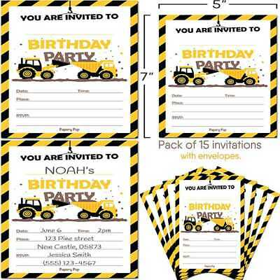 Construction Trucks Birthday Invitations W Envelopes 15 Ct Kids Party For Boy