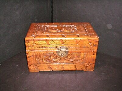 Vintage Chinese Carved Camphor Wood Jewelry Chest Box Casket - Completely Lined
