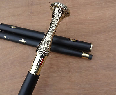 Gentlemens Classic Style Black Wooden Walking Stick Cane Brass Head Handle  Gift