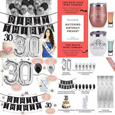 Dirty Thirty 30Th Birthday Decorations For Her Party Supplies 30 Banner Sash WHI