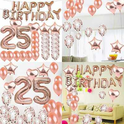 Sweet 25Th Birthday Decorations Party Supplies ROSE GOLD Number 25 Balloons Foil