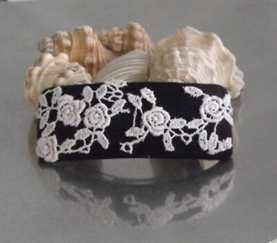 BLACK & WHITE ROSE GUIPURE LACE BARRETTE HAIR CLIP,  HAIR ACCESSORY, Australia
