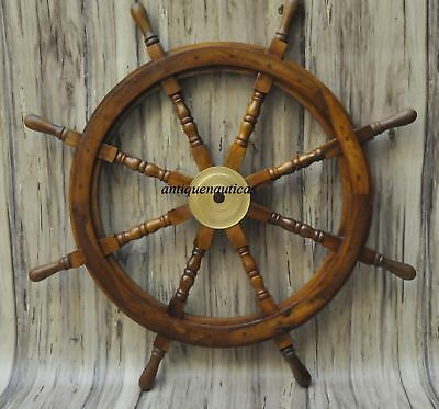 "36""Nautical Wooden Ship Steering Wheel Pirate Decor Wood Wall Boat Brass Fishing"