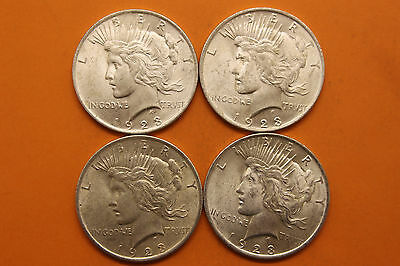 Lot of 4 1923 Silver Peace Dollars #28