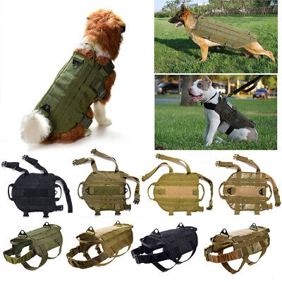 Tactical K9 Dog Military Police Molle Vest Nylon Service Canine Harness M UK