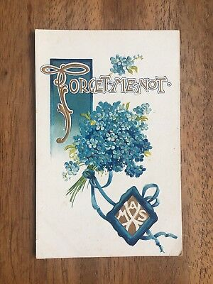 """ANTIQUE INTERESTING 1920's """"FORGET-ME-NOT"""" FLORAL EMBOSSED POST CARD (PF1-29)"""