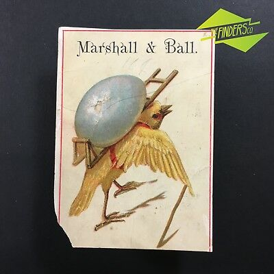 """c.1890 """"MARSHALL & BALL CLOTHIERS"""" ADVERTISING CARD TRADE CARD NEW JERSEY USA"""