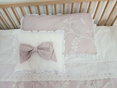 Personalised Cot Bed Set, luxury hand made set in grey/pink with embroidery