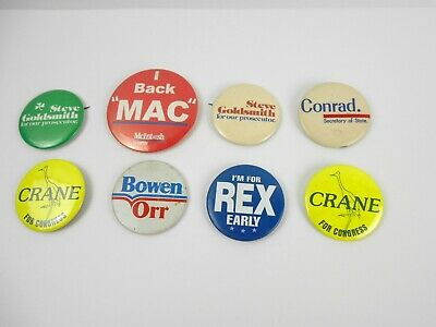 8 Political Campaign Pinback Pins REPUBLICAN Most 69-70s Goldsmith Early Crane