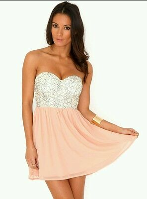 315db7732dec Missguided gorgeous blush pink strapless lace bustier skater dress size 14